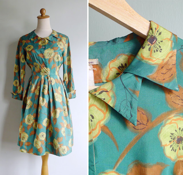 vintage 50s 60s double collar silk shirtwaist dress