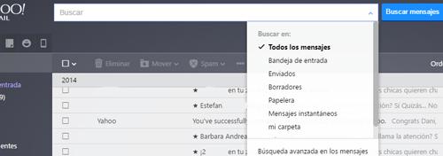 Como buscar un correo especifico en Yahoo Mail