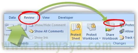 Gambar: Cara mengaktifkan proteksi sheet untuk menyembunyikan rumus/formulai Microsoft Excel