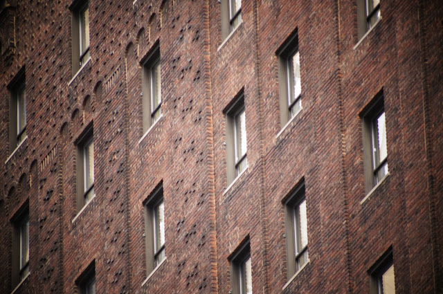windows of a brick building in Chicago