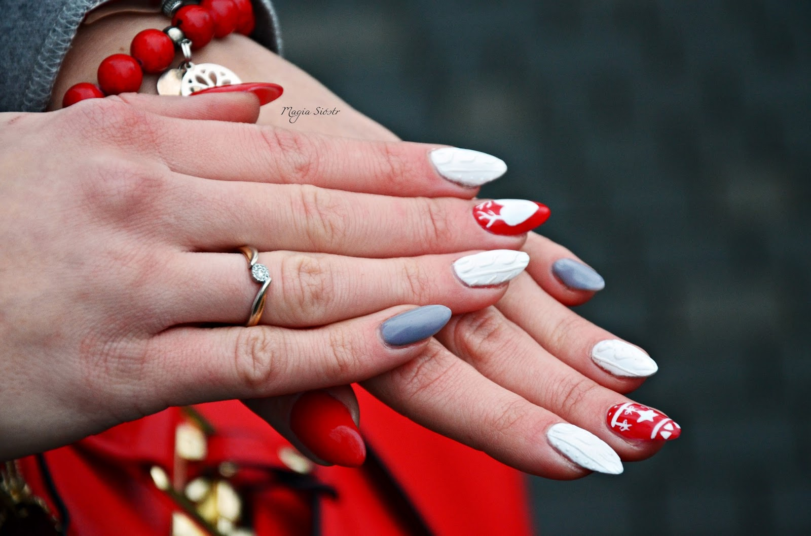 świąteczne paznokcie, stylizacja paznokci, hybrydy, sweterkowe wzory
