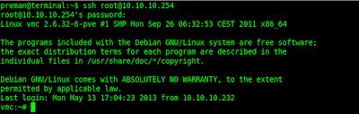 Akses server dengan SSH