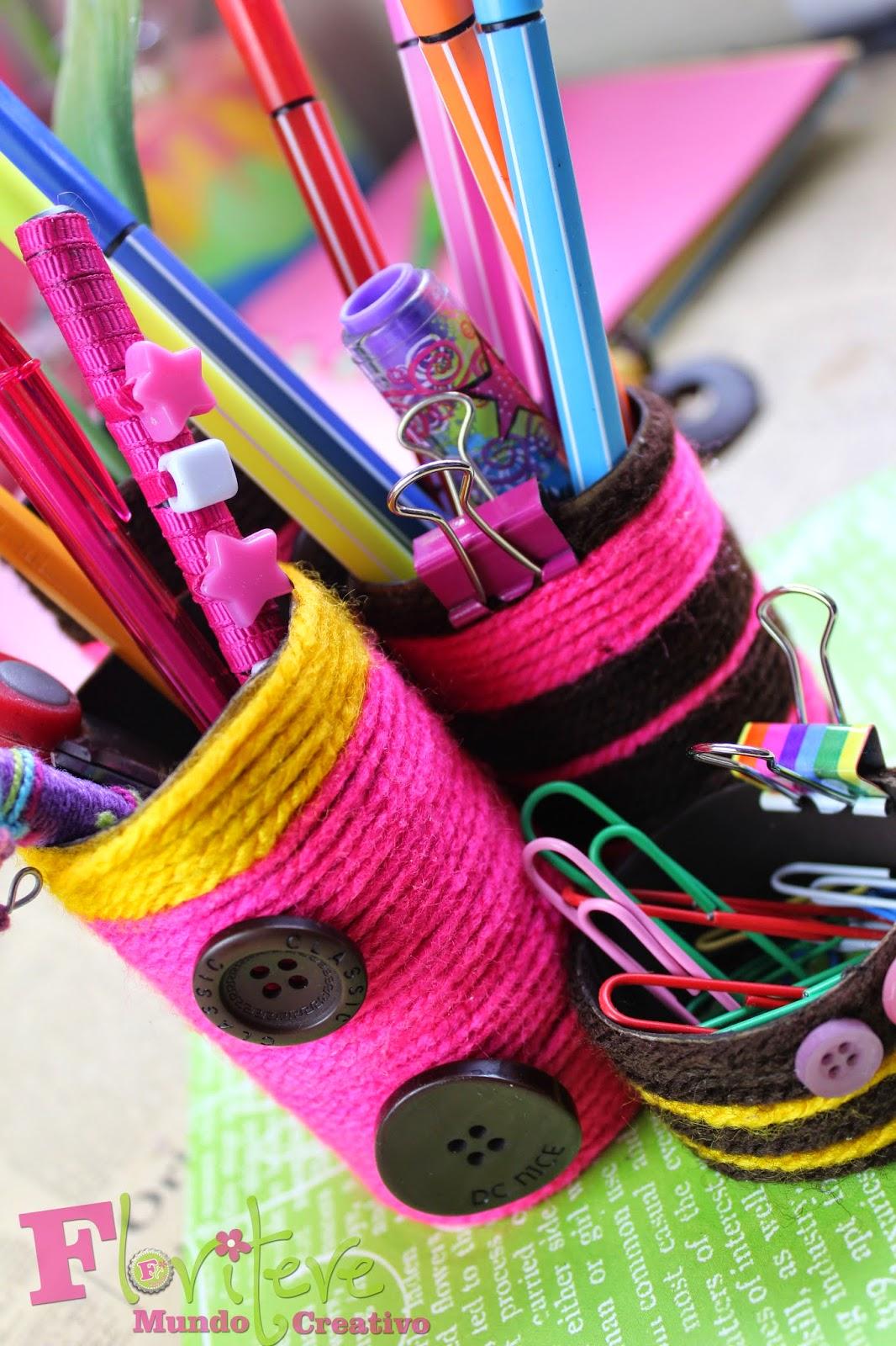El blog de floritere organizador de escritorio con tubos de cart n - Organizador de escritorio ...