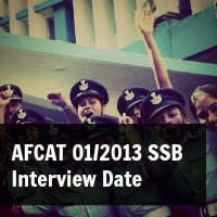 AFCAT 01/2013 SSB Interview Date