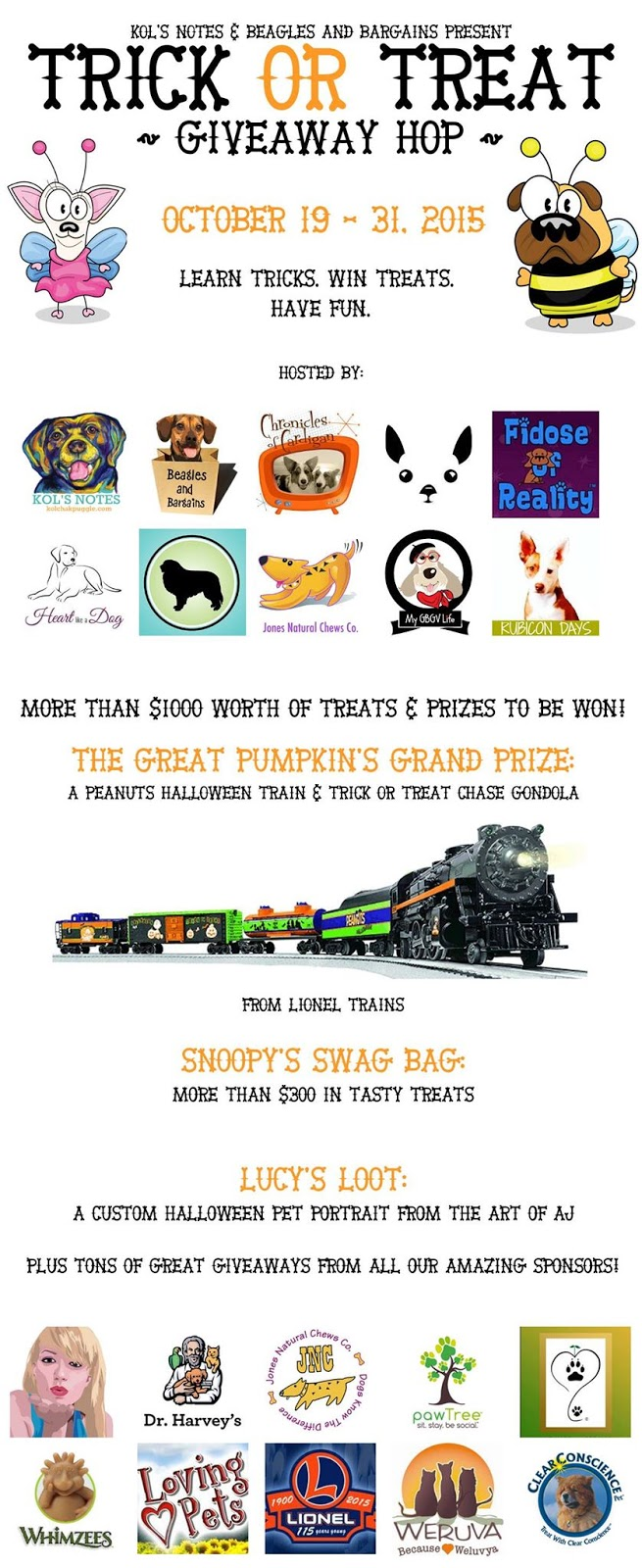 Trick or Treat Giveaway Hop dog cartoon graphic in poster size, including logos of all blogs and brands participating