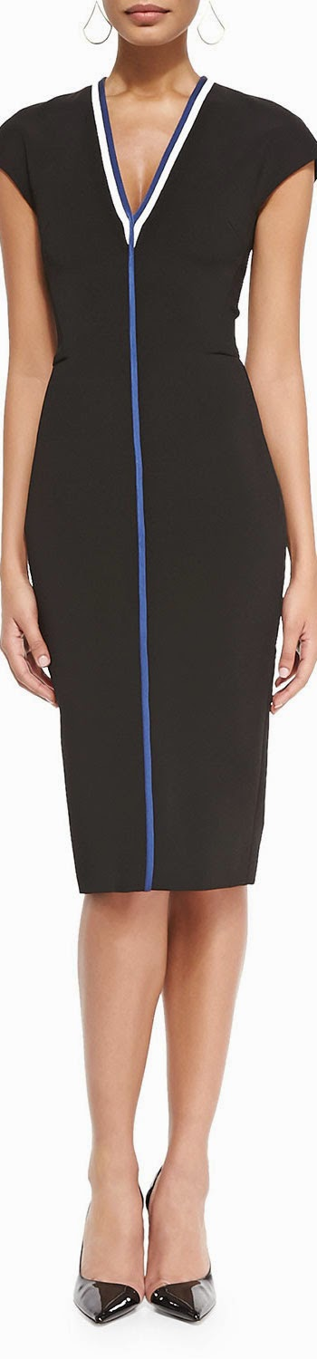 Victoria Beckham  Racer Stripe Sheath Dress