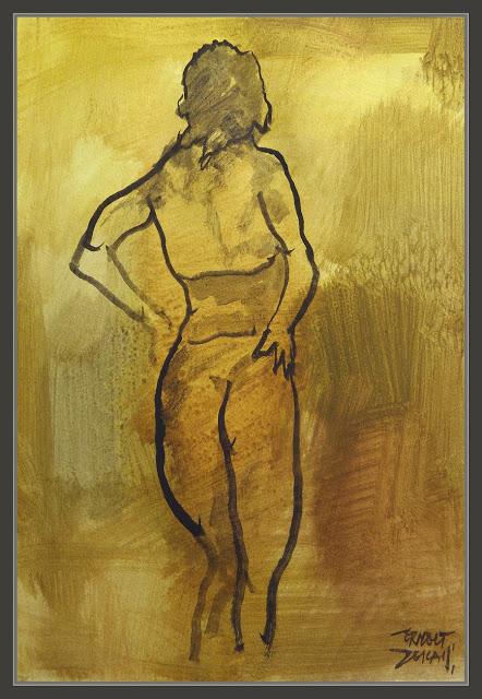 PINTURA-MUJERES-ESPALDA-CULO-POSADOS-CUADROS-WOMEN-ARTWORK-PINTOR-ERNEST DESCALS-