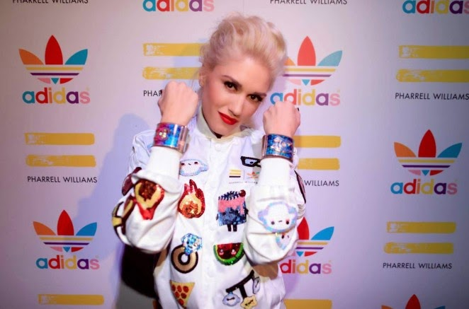 Gwen Stefani opts for a retro sporty look for the Pharell Williams' Adidas Collection Celebration Event in LA