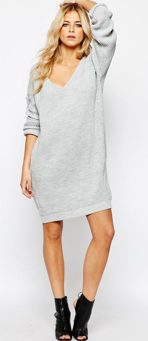 Robe pull grise col en V Boohoo