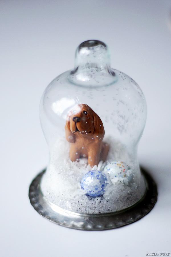 aliciasivert, alicia sivertsson, diy, remake, julklapp, upcycle, återbruk, do it yourself, snow globe, snowglobe, winter, christmas, holidays, snökula, snöglob, snölandskap, gör det själv, hund, dog