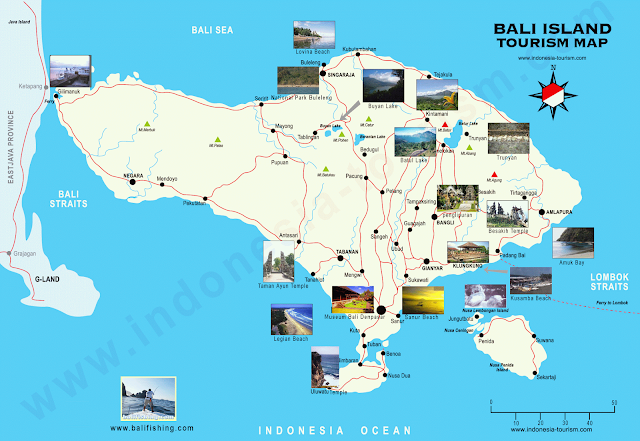Bali, Indonesia - Tourism Map