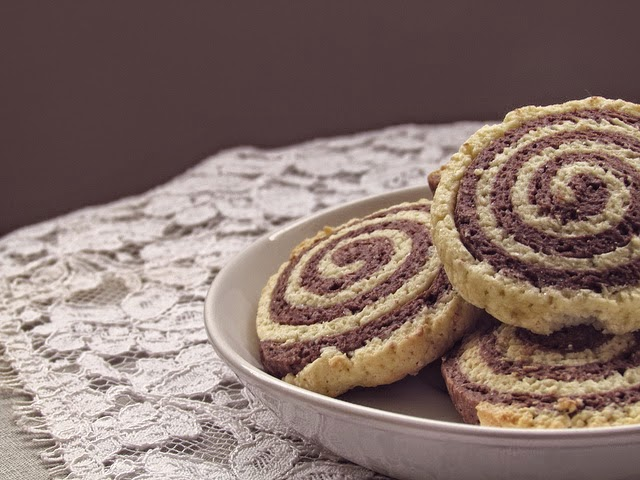 Chocolate Pinwheel Cookies, Becky Cooks Lightly, 43 calories