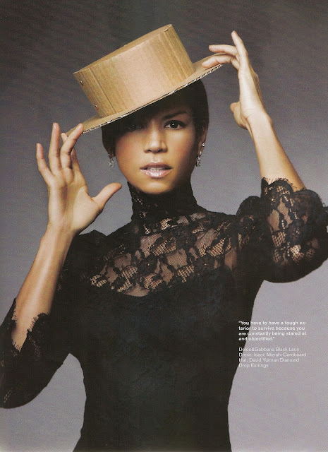 veronica webb, american model, 90s model, black lace top, black model, african american model