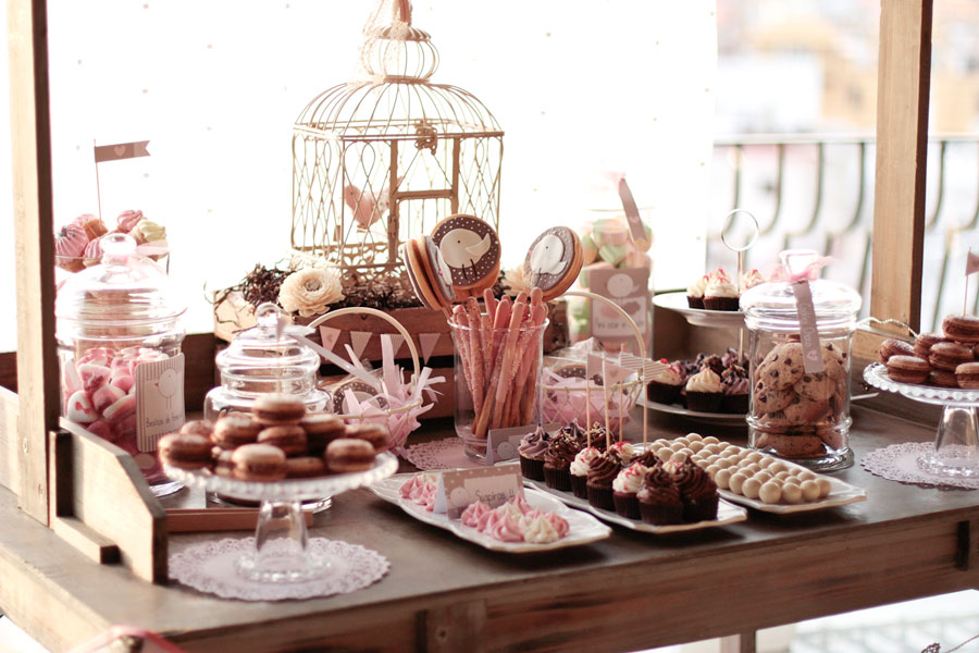 Sweet table buffet dulce decoraci n de mesas para el bautizo de natalia happy party - Decoracion buffet ...