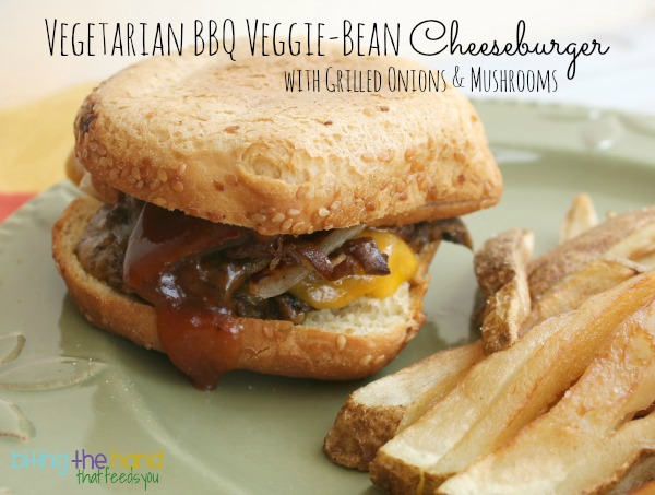 BBQ Veggie-Bean Cheeseburger w/grilled onions & mushrooms #saycheeseburger #cbias #shop