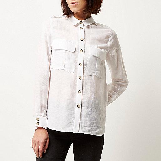 river island white pocket shirt, white pocket shirt, white contrast button shirt,