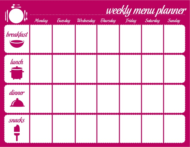 weekly healthy menu planner and grocery list