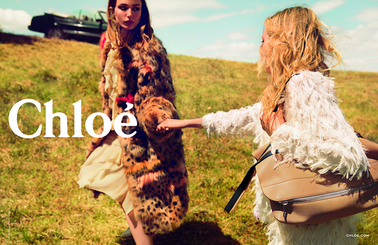 Sasha Pivovarova & Andreea Diaconu photographed by Inez & Vinoodh for the Chloé fall 2014 ad campaign