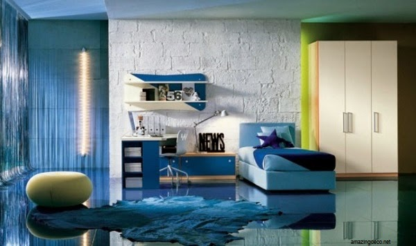 Décoration chambre bleu enfant mixte