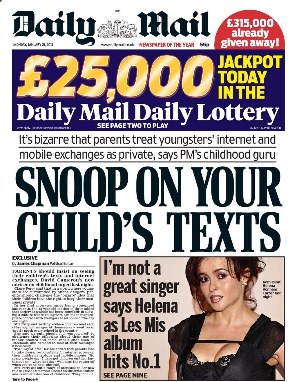Litany of Tittery Daily Mail