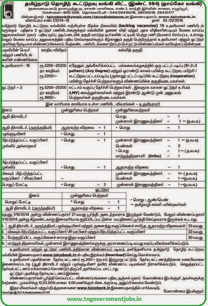 Tamilnadu Industrial Cooperative Bank Ltd (TAICO) Recruitments (www.tngovernmentjobs.in)