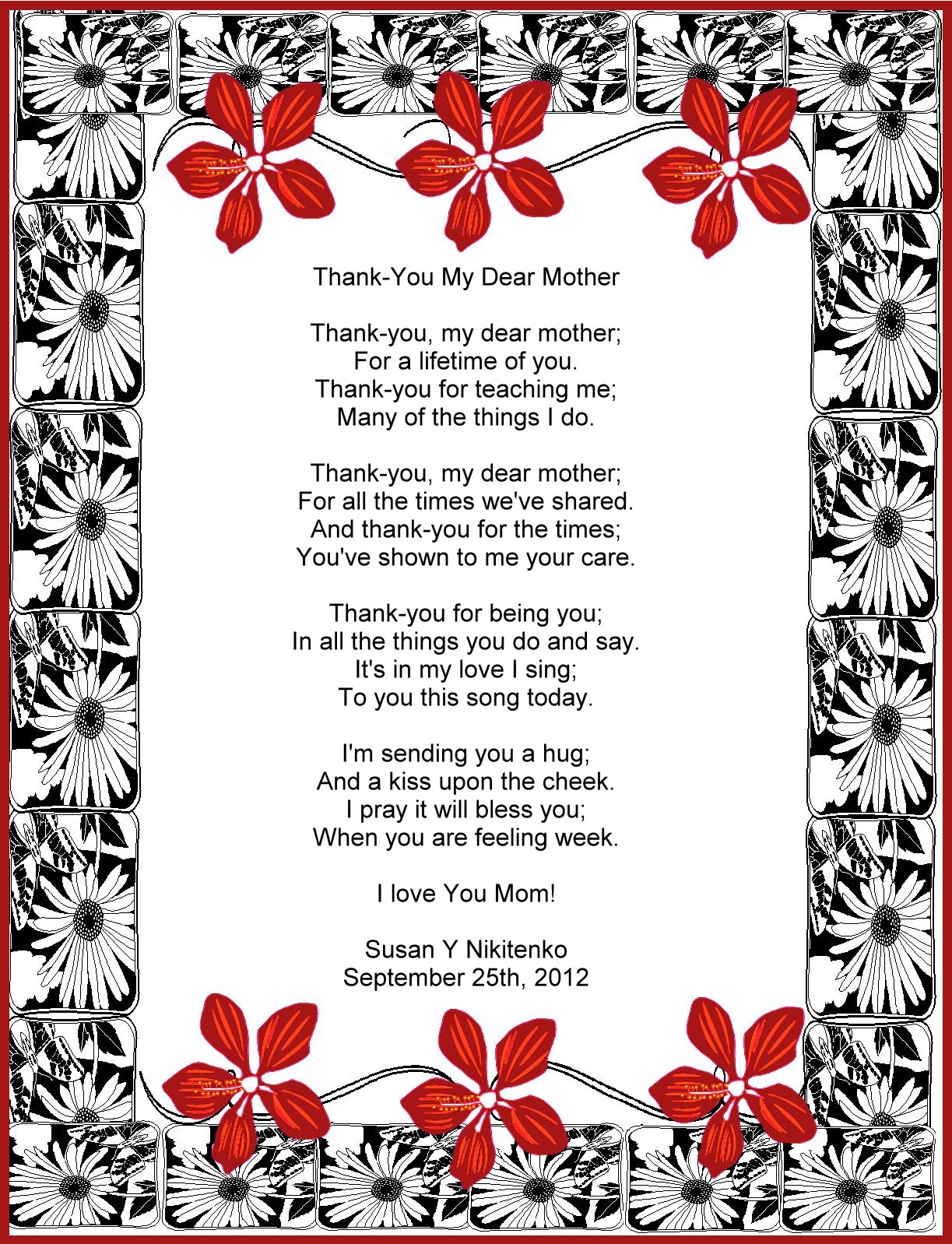 Dear Mom Poem Thank-you my dear mother