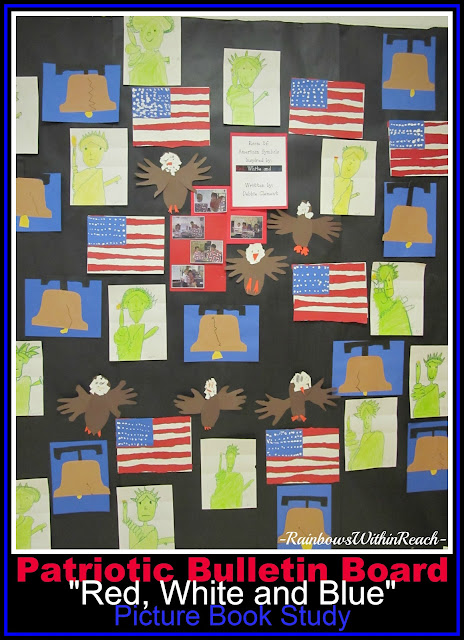 photo of: Bulletin Board of Patriotic Images for Author Illustrator School Visit with Debbie Clement