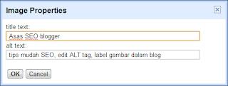 edit ALT tag, edit label gambar blog