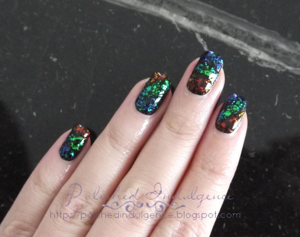 Polished Indulgence: Nail Art Wednesday: Flakie Rainbow Nails