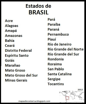 Departamentos de Brasil , organizacin territorial 