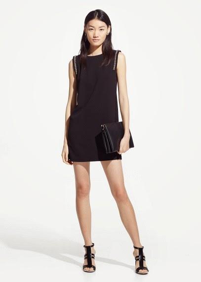 Mango 2015 Elbise Modelleri  klasik tarz omuzları detaylı düz siyah elbise, ofis elbisesi