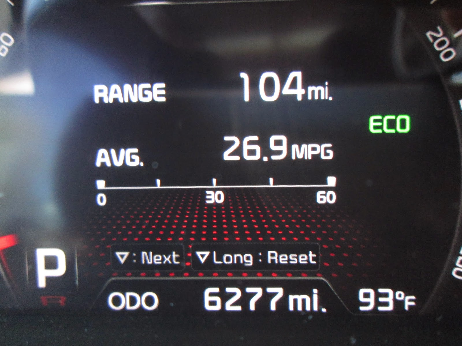 MPG readout in 2015 Kia Sorento