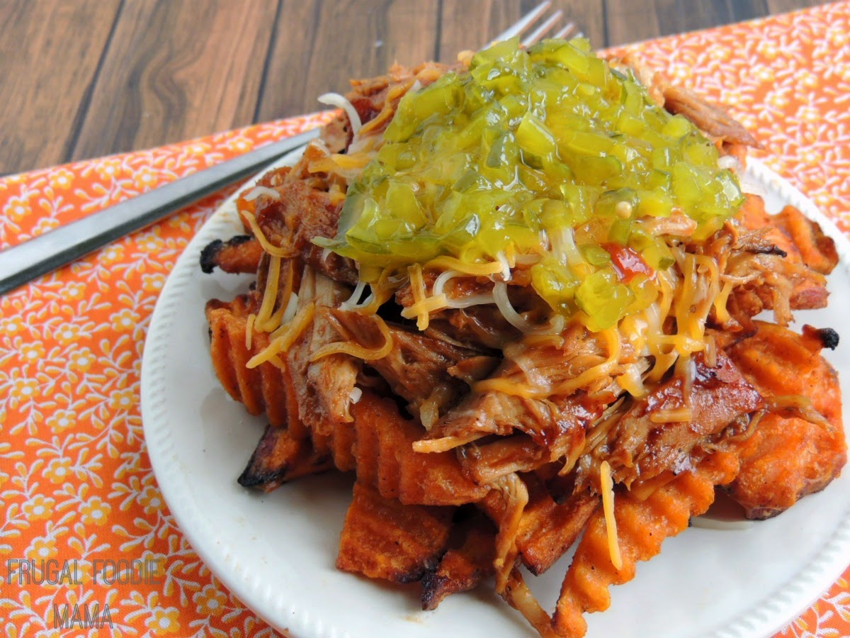 Loaded Pork BBQ Sweet Potato Fries using Alexia BBQ Sweet Potato Fries!