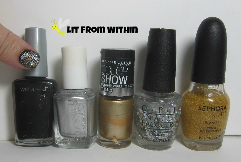 Bottle shot:  Wet 'n Wild Black Creme, Essie No Place Like Chrome, Maybelline Bold Gold,  OPI I Snow You Love Me, and Sephora by OPI 18k gold topcoat.