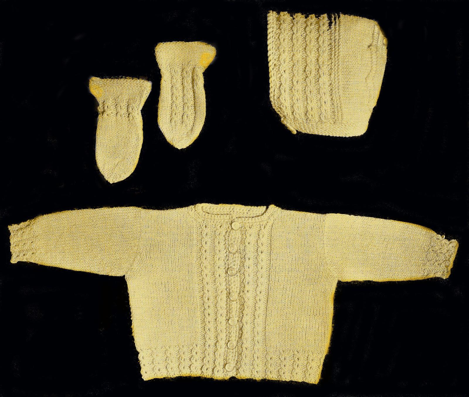 Baby Sets Knitting Patterns : Sentimental Baby: Baby Sweater Set Knit Pattern