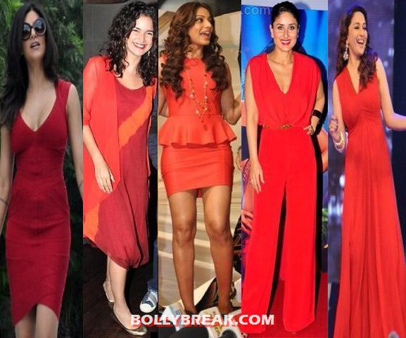 red outfits 1 - Bollywood Starlets in RED