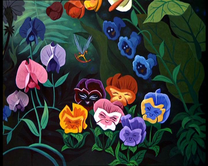 The garden of live flowers from walt disney s alice in wonderland
