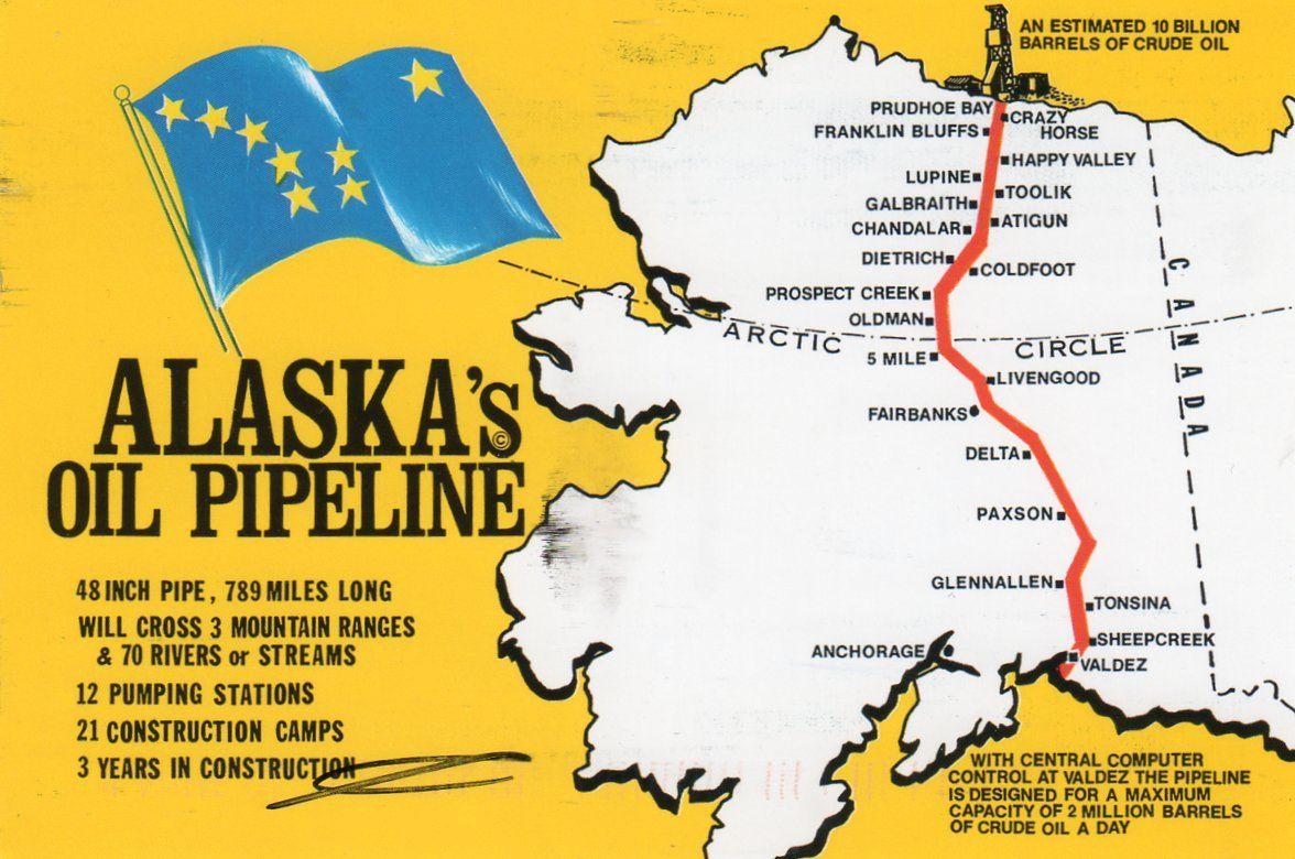 cette carte nous montre l oleoduc de l alaska aussi appele le pipeline trans alaska ou le pipeline alyeska ce pipeline mesure 789 miles de long 1 270