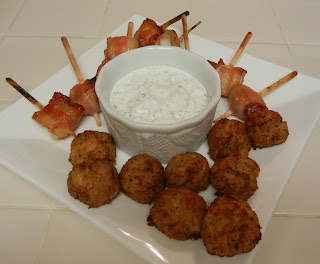 Mini+Crab+Cakes+and+Trader+Joe%27s+Bacon+Wrapped+Scallops+Lemon+Dill+Greek+Yogurt+Dip Weight Loss Recipes A day in my pouch