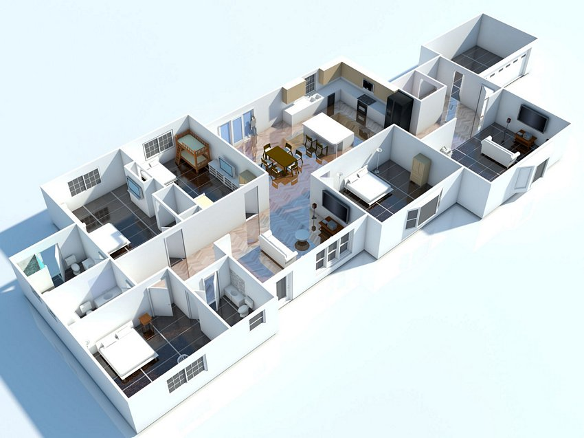 3D House Cool Of Interior Plan Houses 3