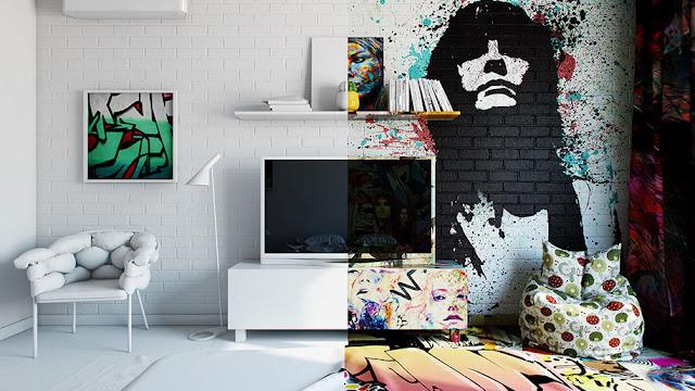 Metade Graffiti, Metade Branco: Artista ucraniano cria quartos de hotéis perfeitamente mesclados