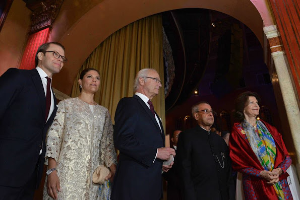 King Carl Gustaf and Queen Silvia of Sweden, Prince Daniel and Crown Princess Victoria of Sweden, India's President Shri Pranab Mukherjee