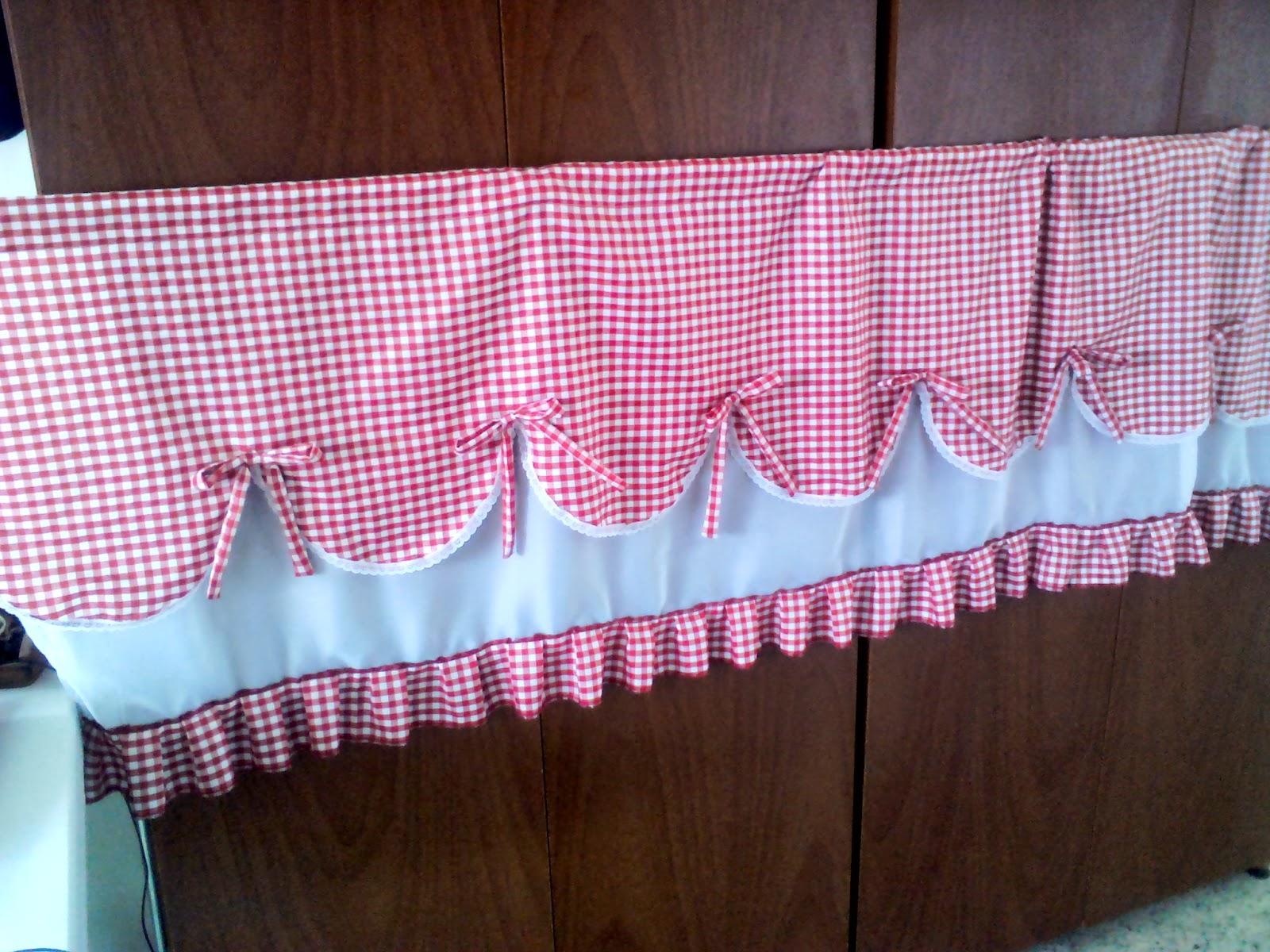 Mila artes manuales cortina para una cocina for Cortinas de tela para cocina