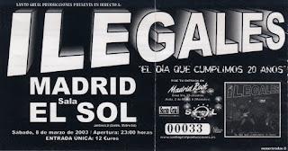 entrada de concierto de los ilegales