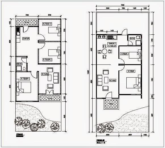 denah rumah type 45 dua lantai idaman keluarga