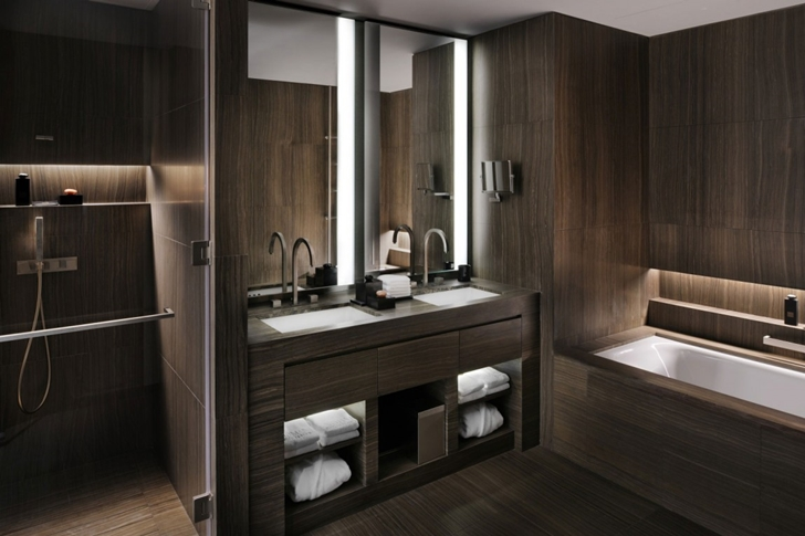 Dark bathroom in Armani Burj Khalifa Hotel Dubai
