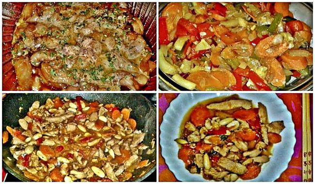 Preparación del pollo chino con almendras