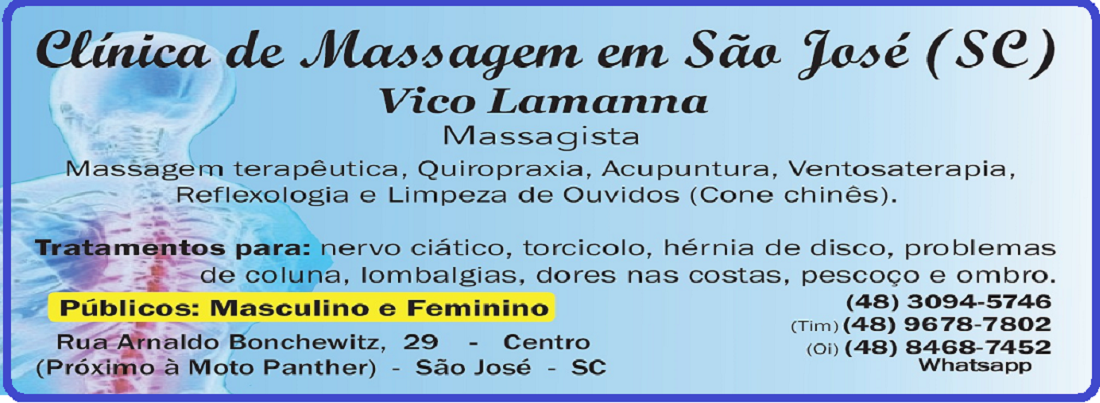 Clínica de Massagem Terapêutica Massoterapia Quiropraxia Acupuntura (Vico Massagista - São José SC)