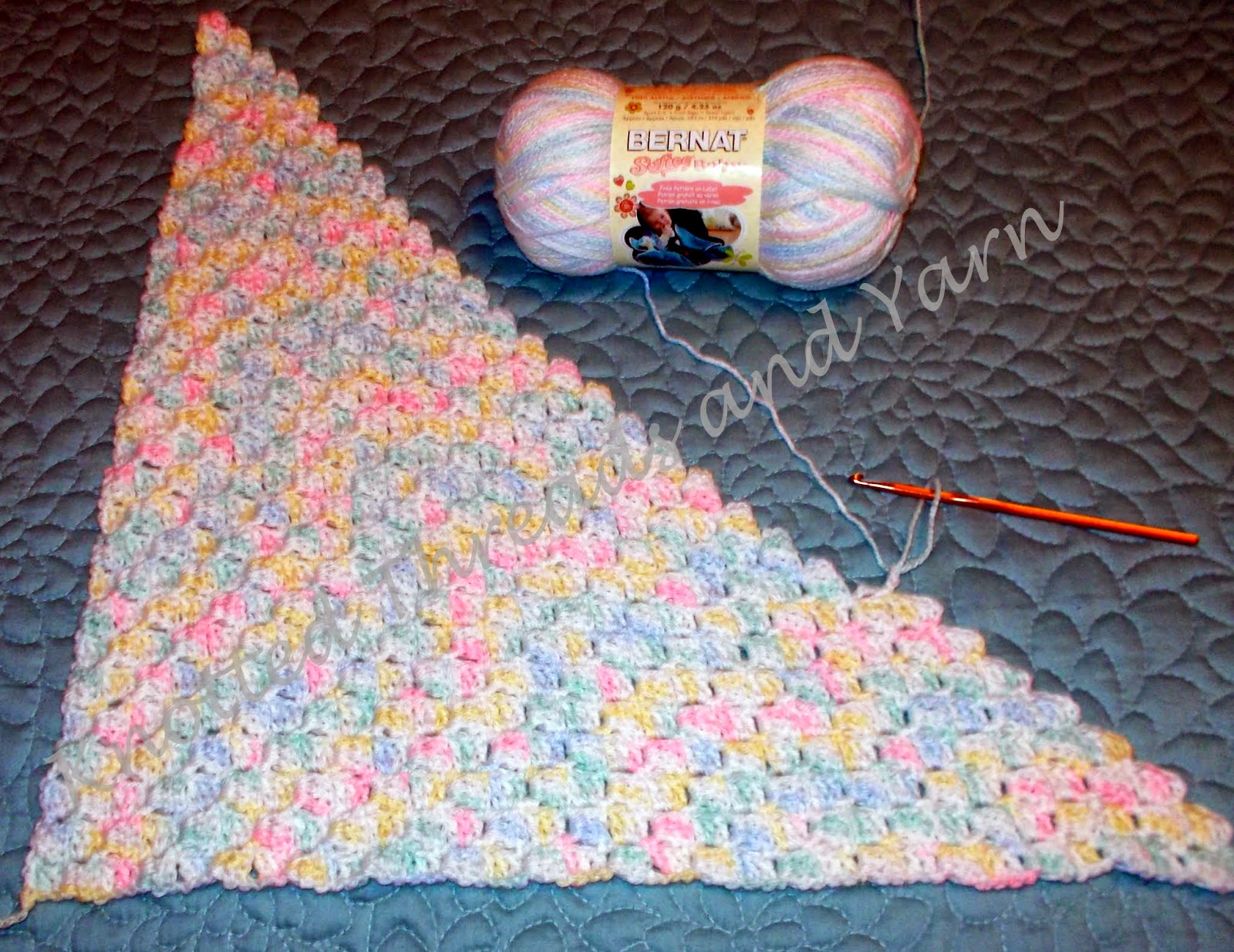 Crochet Pattern For C2c Blanket : Knotted Threads and Yarn: c2c Baby Blanket