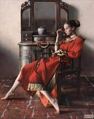 Mujeres Chinas Con Atuendos Tipicos Oleos